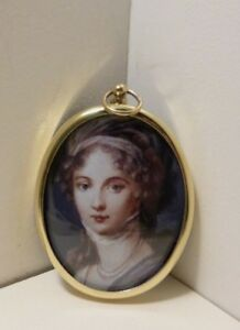 Miniature of lady in an oval brass bezel