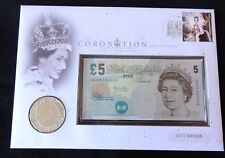 2003 UK £5 COIN + £5 BANKNOTE SPECIAL CYPHER QC03 000546 QUEEN CORONATION PNC