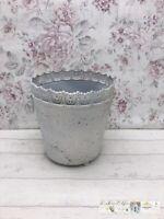 M romantischer Blumentopf Topf Vase Übertopf Blau Shabby Chic Landhaus Toile de