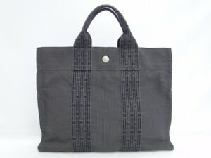 Auth HERMES Tote Hand Bag Her Line MM Canvas Gray France Free Ship 71170360300 K