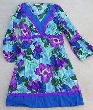 NEW Look Donna Maniche a 3/4 100% Cotone Abito Estivo Multicolore UK 10