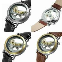 Luxus Herren Skeleton Bridge Leder Steampunk automatische mechanische Armba P5Q9