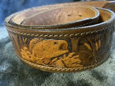 Chambers Hand Tooled Painted Leather Belt Sz. 38 Western Jumping Fish Bass