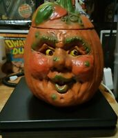 Ceramic Halloween Pumpkin Light Jack O Lantern Head Ugly Face VTG SEE VIDEO!