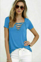 Sexy Casual Loose Tops BloUSe Fashion Women Short Sleeve V-Neck T-shirt