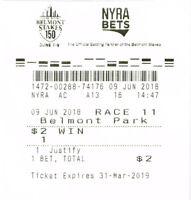 2018 BELMONT $2.00 WIN TICKET JUSTIFY TRIPLE CROWN WINNER HORSE