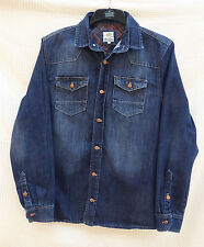 River Island mens quieky dist/bleach denim front/knitted back jacket Size L