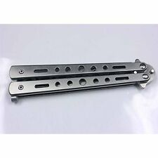 Butterfly Balisong Trainer Knife Training Dull Tool Black Metal Practice NEW