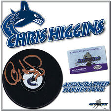 "CHRIS HIGGINS Signed VANCOUVER CANUCKS Puck w/COA ""NEW"""