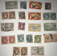 Small Lot of 1900's Used NIGERIA Postage Stamps - Unsorted Mixed Stamps