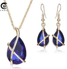 18k Gold Plated Jewellery Set Necklace Earring Sapphire Pendant Chain Drop Blue