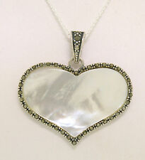 Marcasite .925 Sterling Silver Mother of Pearl MoP Wide Heart Pendant w/ Chain