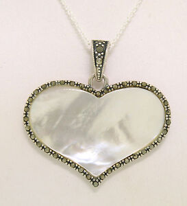 """NEW Sterling Silver Mother of Pearl & Marcasite Wide Heart 18"""" Pendant Necklace"""