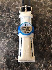 Hirsch Gran Duque 20 mm Correa De Reloj Blanca Con Costuras De Azul