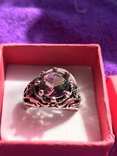Size O New In Gift Box Silver Metal Fashion Ring Multi Coloured Gem