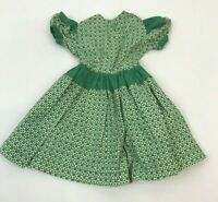 Vintage Doll Clothes Dress Green Print 1950s Puff Sleeve Full Skirt Button Back