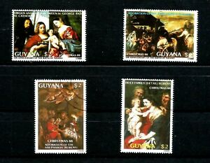 Guyana Stamps 1988 MNH cto from mini sheets christmas stamps CV £9.00