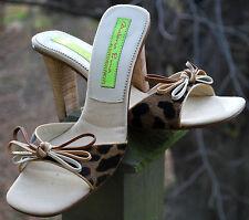 Vintage MATERIA PRIMA Genuine Brown Black PONYSKIN Slide Heels W Bow ITALY Sz 8