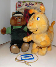 Teddy Ruxpin & Grubby 1985 w/ Cassette Tape & Interactive Cable Cord Not Working
