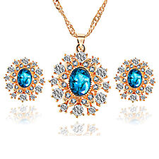 Winter Collection Gold Blue Set Snowflake Earrings & Necklace Pendant S960