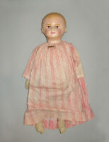 "Antique Vtg Ca 1900s Martha Chase Rag Cloth Doll Painted Face 21"" Applied Ears"
