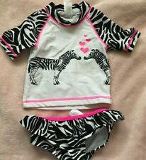 Carters Sz 12Mo 2Pc Shirt And Bikini Swimsuit Zebra Print Euc Just To Darn Cute