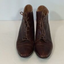 Vintage 1950's Tiziano Ross Italian Shoes 1/34 Inch Heel Brown Leather Bootie