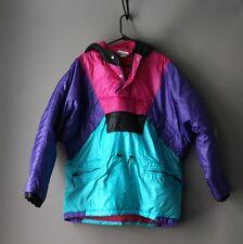 Vintage 80s 90s Adidas Pink Purple Teal Ski jacket coat retro size large hip hop