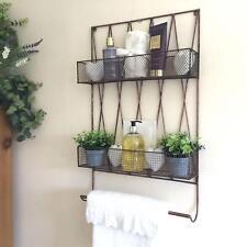 Vintage Style Metal Bathroom Wall Shelf Storage Unit Rack Towel Rail Copper/Blac