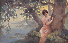R149371 Painting Postcard. Woman Writing on the Tree
