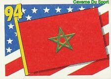 355 FLAG DRAPEAU MOROCCO MAROC BLUE BACK VIGNETTE STICKER USA 94 BROCA
