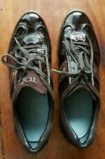 TOD'S WOMEN'S LEATHER SNEAKERS-BROWN, Size39.5/9.5