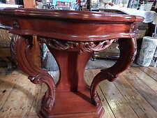 Generous Solid Mahogany French Chateau Style Gilt Marble Top Carved Console Hall Table Reproduction Tables