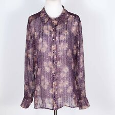 St. John Couture 100% Silk Semi-Sheer Purple Floral Blouse 12