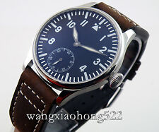 44mm Parnis Seagull black dial Luminous hand winding 6498 men's Watch