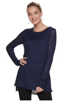 Apt. 9 Women's Sequin Mock Layer Tunic Sweater Size Small Navy NWT