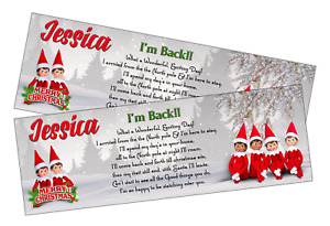2x PERSONALISED ... I'M BACK! ELF ON A SHELF CHRISTMAS WELCOME BANNER with quote