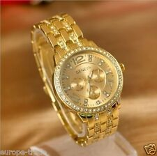 Oro De Moda Para Mujer De Cristal De Lujo Acero Muñeca Diseñador Reloj Geneva