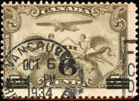 Canada Used VANCOUVER 6c on 5c F Scott #C3 1932 Air Mail Stamp