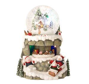 Wunderschöne LED Schneekugel Weihnachten Weihnachtsdorf mit Musik H21 cm Ø10 cm