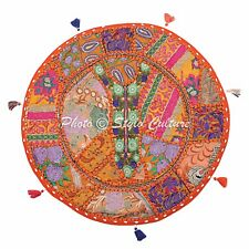 "22"" Cotton Patchwork Floor Pillow Cushion Cover Indian Embroidered Poufs Throw"