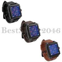 Mens Sport Date Watch 30M Waterproof Square Blue Dial Heavy Leather Wrist Watch
