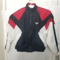 Vtg Reebok Mens Full Zip Windbreaker Jacket  Logo Embroidered Multicolor Sz L A9