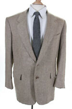 Hickey Freeman For Bergdorf Goodman Two Button Tweed Suit Jacket Beige Size 38