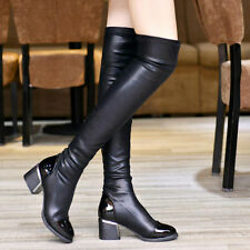 Womens Over-the-Knee Riding Boots Chunky Heels Stretch PU Leather Casual Shoes