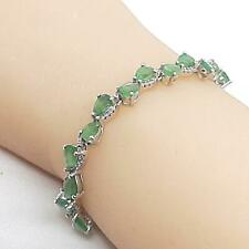 11.55ct Colombian Emerald & Diamond Cut White Sapphire 925 Silver Bracelet 11.5g
