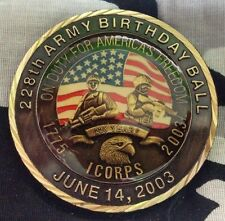 United States Army I CORPS On Duty For America's Freedom BDB 2003 Challenge Coin