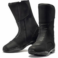 Black Travel WP Touring Motorcycle Boots Leather Waterproof Bike CE Approved