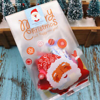 50 Pcs Christmas Candy Bag Santa Claus Cookies Biscuits Gift Bag Party Supplies