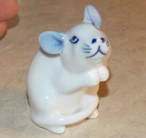 Vintage Blue White Mouse Porcelain Figurine Home Decor Collectible